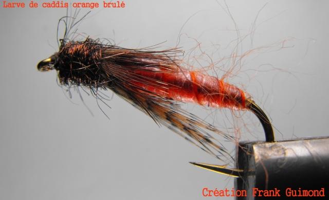 larve de caddis orange brulé